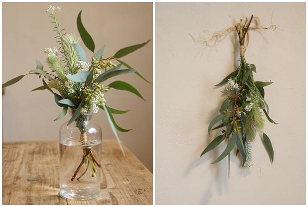 花瓶に生けたグリーンをスワッグに再利用の写真
