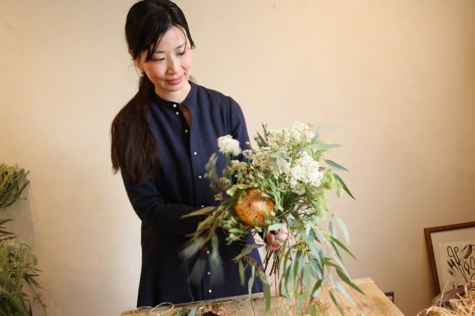 松陰神社前「ふたつの月」のフラワースタイリスト 平松朋子さん