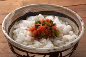 お腹に優しいヘルシー365レシピ「明太子とねぎのごま油のっけ」の出来上がり写真