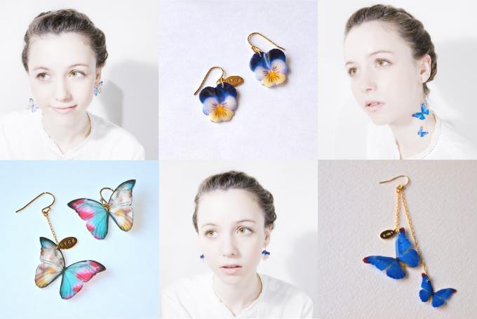 蝶々や鳥のモチーフの「OVCE(オフチェ)」の耳飾り