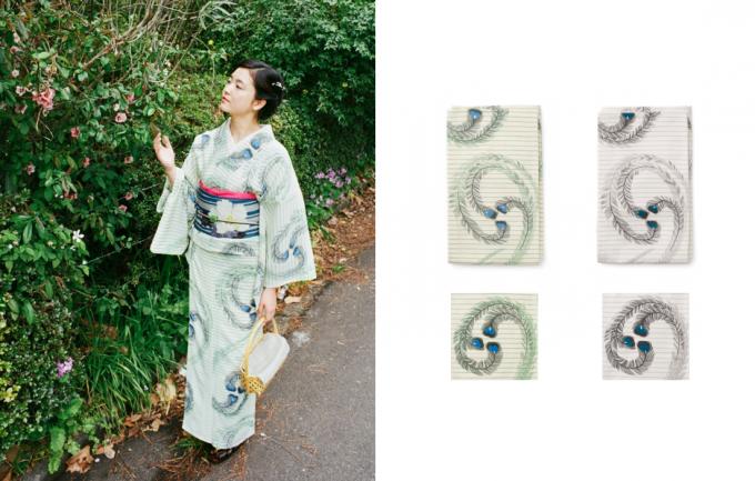 大塚呉服店の孔雀の羽根をデザインした浴衣
