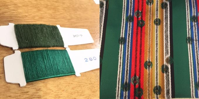 2色の糸、ネクタイの裏側