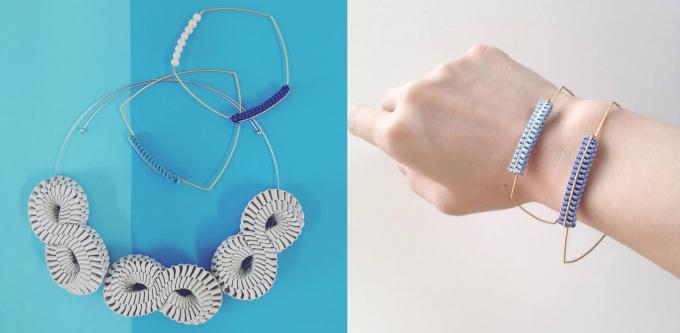 編んだリボンを使用したネックレス、ブレスレット数点
