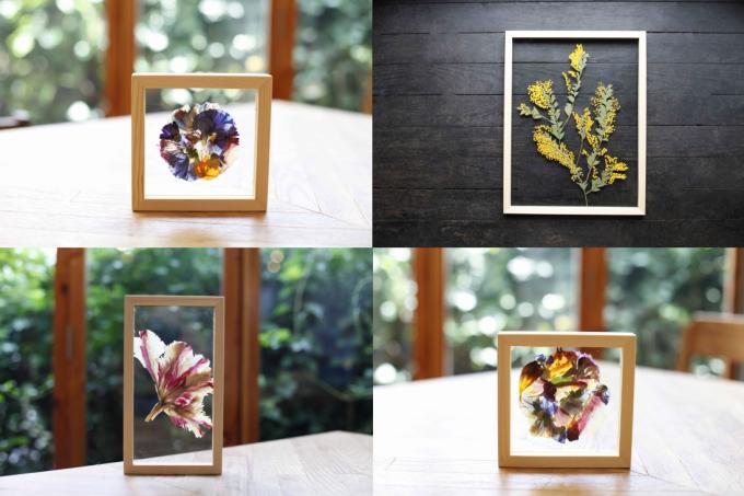 ガラスと押し花のフレーム