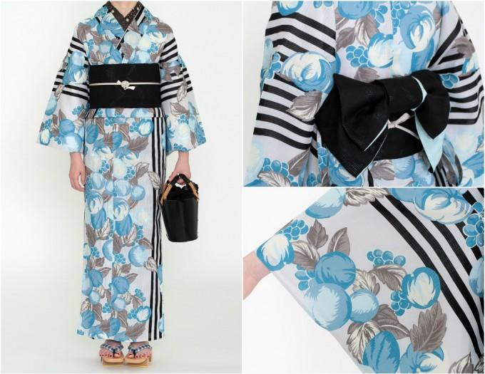 ブルーの花柄とストライプの着物