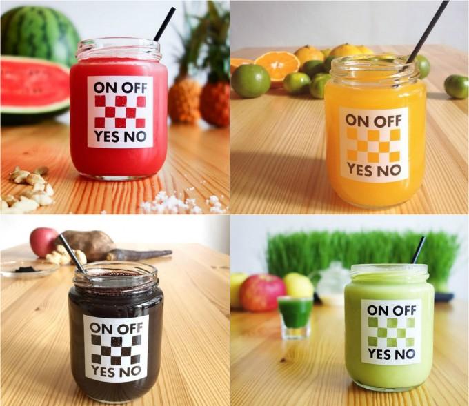 「オンオフ イエスノー」の旬の野菜を使ったジュースも人気