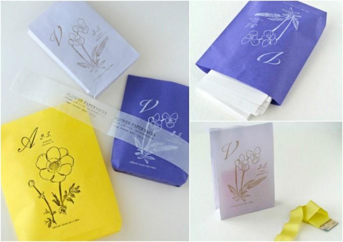 「ATELIER.encle d'encle」の花の紙袋3色セット