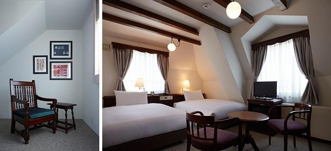 松本民芸家具の椅子、木の梁や漆喰の壁の部屋