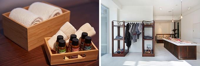 タオル、化粧品などアメニティ、併設のショップ