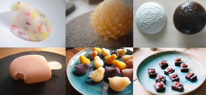 花びらのような生菓子、菊型の和菓子、ひよこ型の和菓子、コラボレーション和菓子、アイスバー