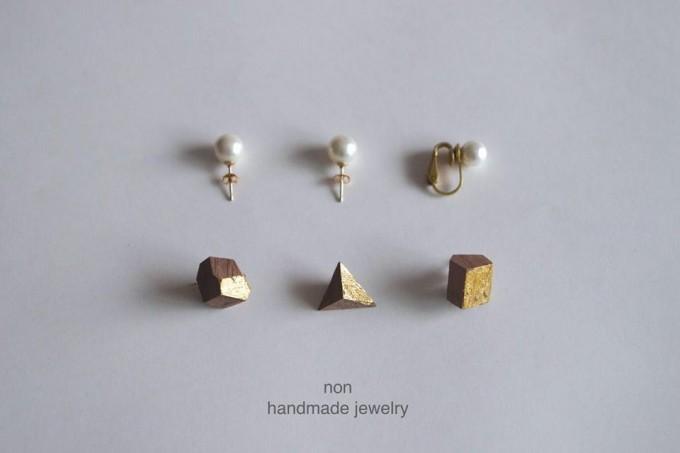 NON handmade jewelry(ノン ハンドメイドジュエリー)、パールとウッドパーツのアクセサリー