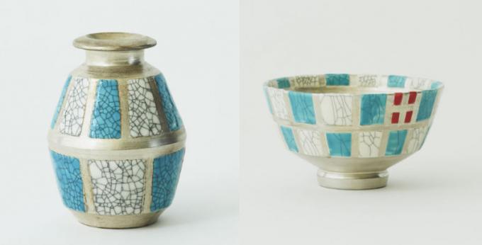 ヒビ模様の入った陶器の入れ物と茶碗2種類