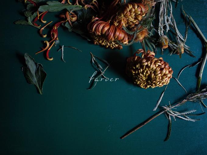数種類の花と「farver(ファーヴァ)のロゴ