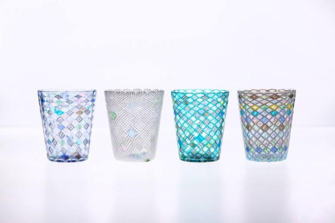 潮工房のムニーリ技法のガラスグラス4点