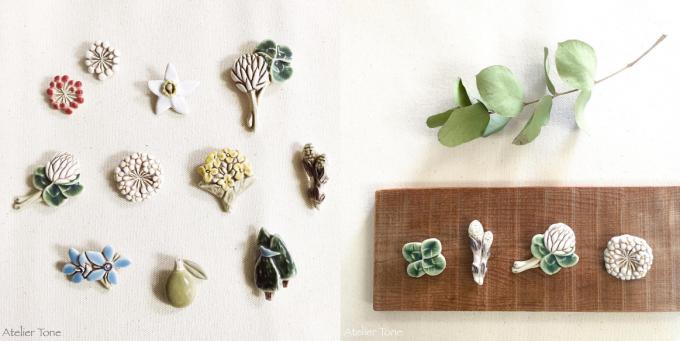 下山陽子さんが作った、お花と植物がモチーフになったブローチ数種類