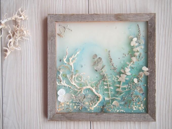 お花とワックスを使用したワックスアート