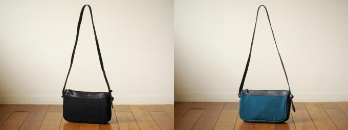 レザー切り替えのブラック、ネイビーのショルダーバッグ