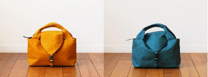 オレンジ、ターコイズカラーのトートバッグ