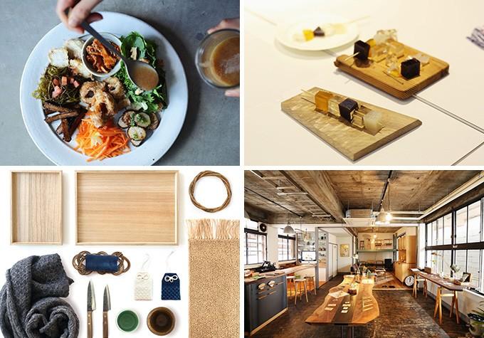 食堂「nitaki」や和菓子屋「森羅万象茶屋」、インテリアや雑貨などを販売する「山の形ストア」