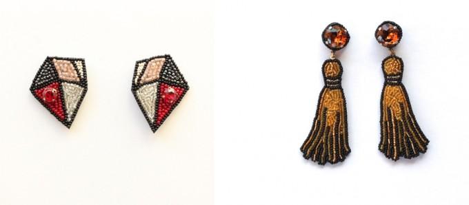 フランス刺繍家小林モー子(Môko Kobayashi)が作る、赤系のBijouxシリーズや黄色いタッセルのモチーフのピアス作品の写真