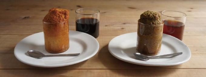 ケーキの入ったVISION GLASS(ヴィジョングラス)の耐熱グラス