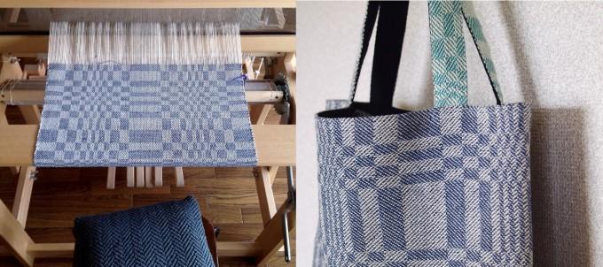 織り機と織り機で作ったブルーのトートバッグ