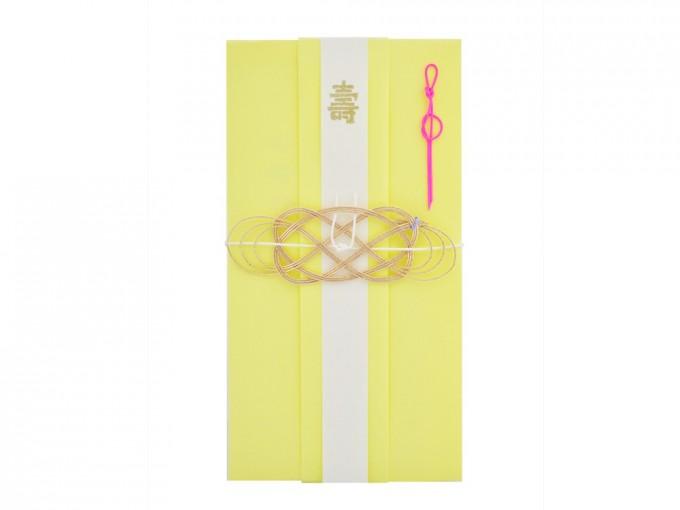 """レモンイエローに""""髪飾り結び""""の水引を飾ったご祝儀袋"""