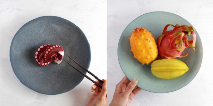 タコやフルーツが乗った池田優子さんの器2種類