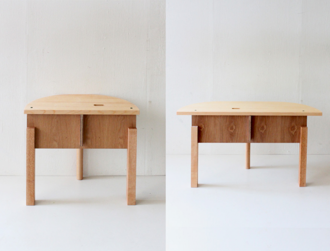 Oy(オイ)の半円型の木製ベンチ2種類