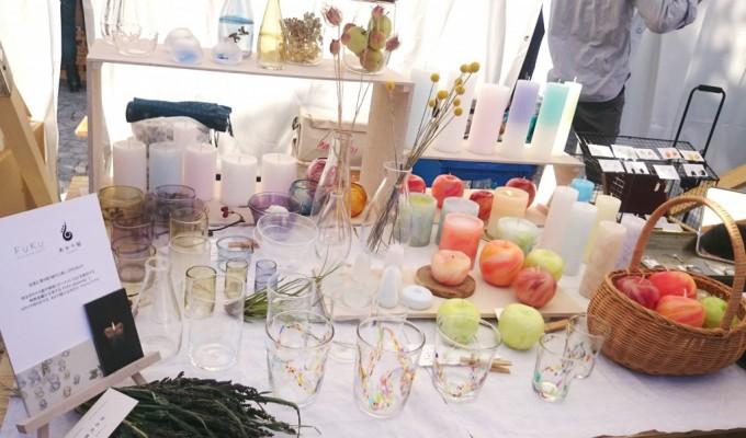 Loppis Ueda(ロッピスウエダ)に出店する「FUKU glassworks(フク グラスワークス)のガラスと小山ゆたかさんのロウソク数点
