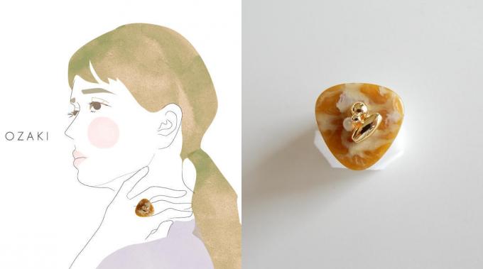 OZAKI(オザキ)のボタンリングとそれを身に着けた女性のイラスト
