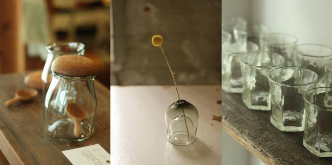 KOHORO(コホロ)で取り扱っている蓋つきのガラス瓶や一輪挿しなど数点