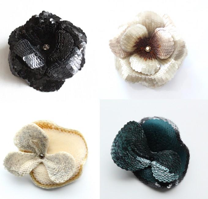 フランス刺繍家小林モー子のオートクチュール刺繍教室のオプションレッスンで作るスパンコールを使った黒や白、グリーン系の花型コサージュの例