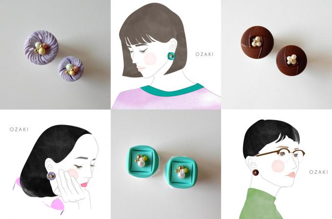 OZAKI(オザキ)のボタンアクセサリー3種類とそれを身に着けた女性のイラスト