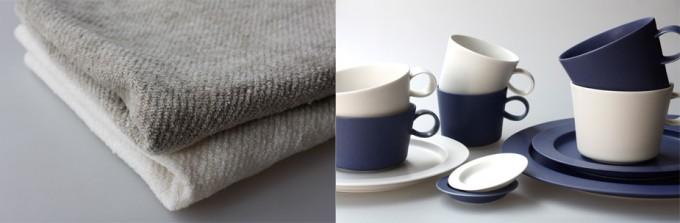 三軒茶屋の雑貨店「klala」で扱っているR&D.M.Co-(オールドマンズテーラー)のリネンとイイホシユミコさんのネイビーとホワイトのお皿やカップ