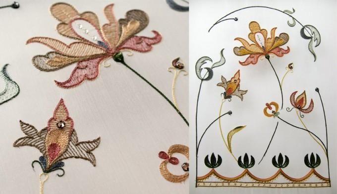フランス刺繍家小林モー子のアトリエ「maison des perles(メゾン・デ・ペルル)」のオートクチュール刺繍教室の入門コースで作る花の刺繍の写真