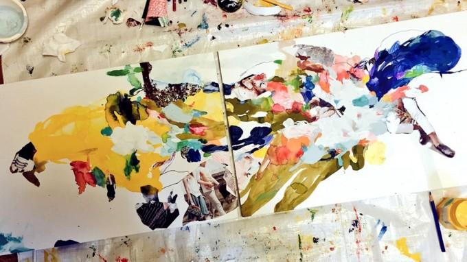 アパレルブランドのカタログをコラージュした絵画作品