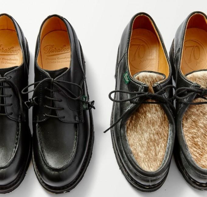 フレンチシューズの象徴的なブランド「PARABOOT(パラブーツ)」のブラックブーツとハラコをあしらったブーツ