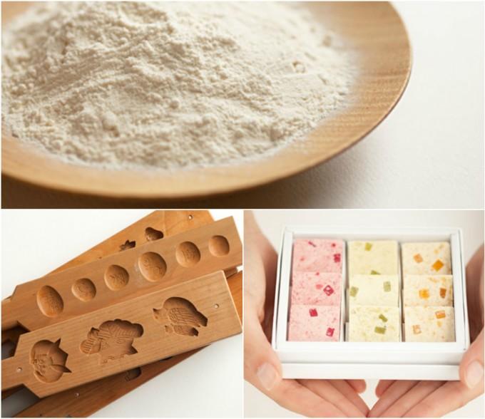 和三盆糖を使った落雁、木型