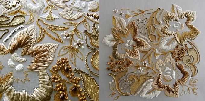 フランス刺繍家小林モー子の教室でビーズ、スパンコール、ラフィア、コード、モール糸を使ってクロッシェで作る白と金色の豪華な花の刺繍の写真