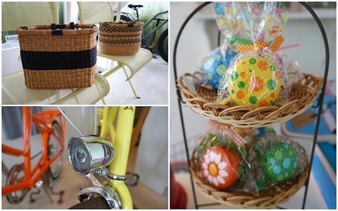 清澄白河の自転車店「alohaloco(アロハロコ)」で販売しているガーナのバスケットやカナダのベルなどの写真