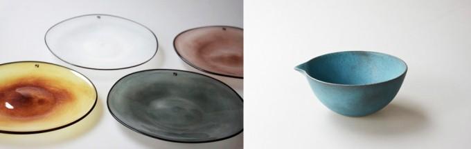 三軒茶屋の雑貨店「klala」で扱っているfracco(フラスコ)のkasumiシリーズのガラスプレートや田中啓一さんのブルーの片口