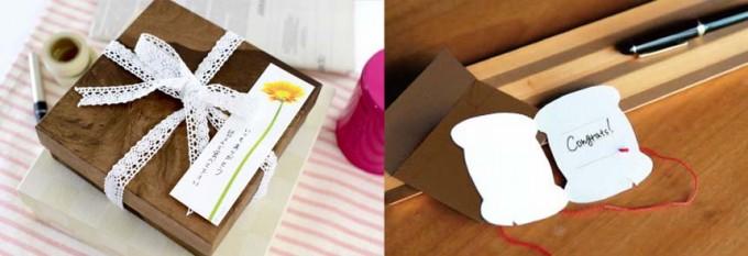 「paperable(ペパラブル)」の花と糸巻きのメモをプレゼントに使っている写真