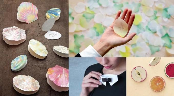 「paperable(ペパラブル)」の貝殻、葉っぱ、えり、フルーツ型のメモとふせんの写真