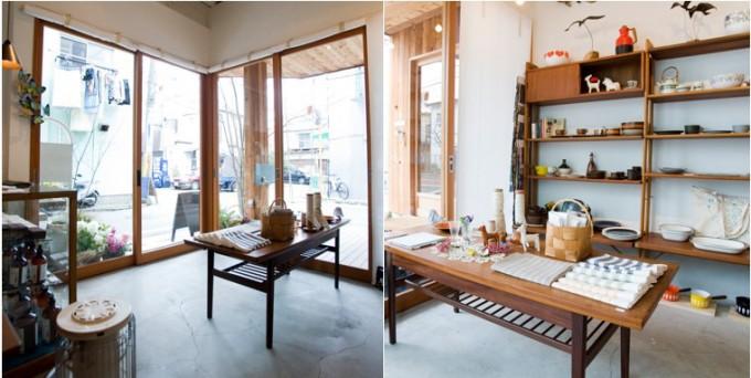 三軒茶屋の雑貨店「klala」の北欧や国内の雑貨やテーブルが並ぶ店内の写真