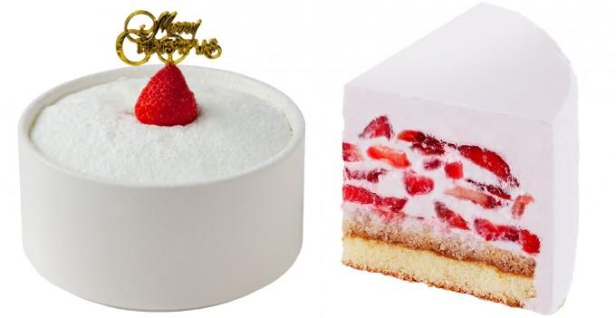白いクリームとイチゴのクリスマスかき氷ケーキの写真