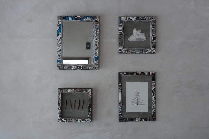 ろくろ舎のオリジナルブランドSOUの塗料の塊から作られたフレーム4種類
