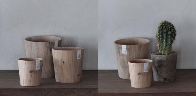 ろくろ舎のオリジナルブランドTIMBER POTの木製の鉢植え数種類