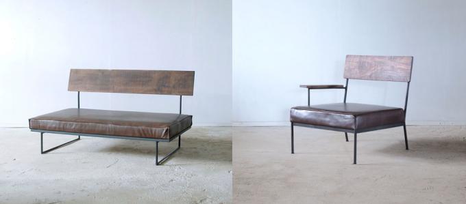 木材と鉄で作られた枯白 kokuのベンチソファ2種類