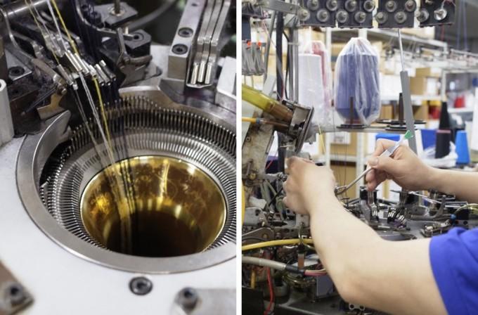 奈良県広陵町の靴下工場の編み機
